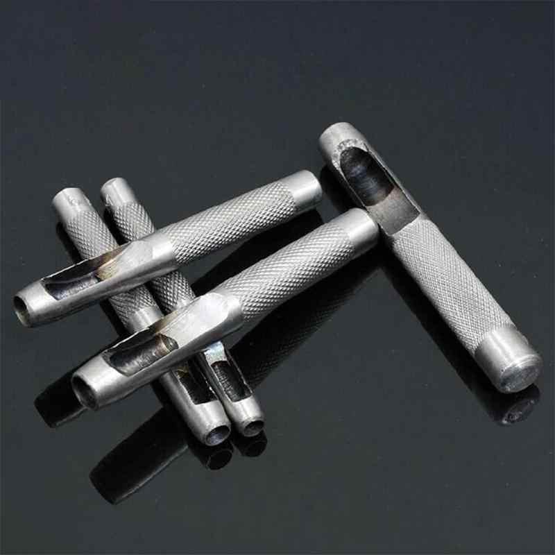 10pcs DIY Handmade เข็มขัดเจาะรู Punch Hollow เจาะเครื่องมือหนังหัตถกรรม Puncher ชุดเครื่องมือ