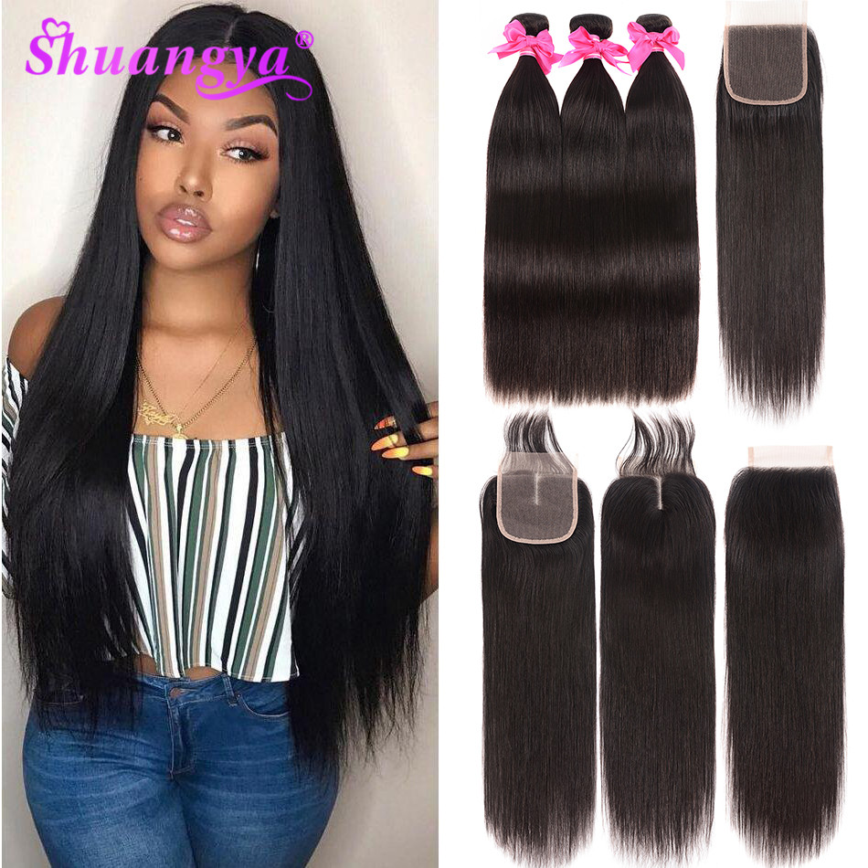 Shuangya Hair Malaysian Straight Hair Bundles With Closure Remy Hair Human Hair Bundles With Closure Hair Bundles With Closure