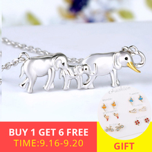 2019 New 100% 925 Sterling Silver warm family Elephant father mother and child pendant necklaces Fine Jewelry for Mother Gift недорого