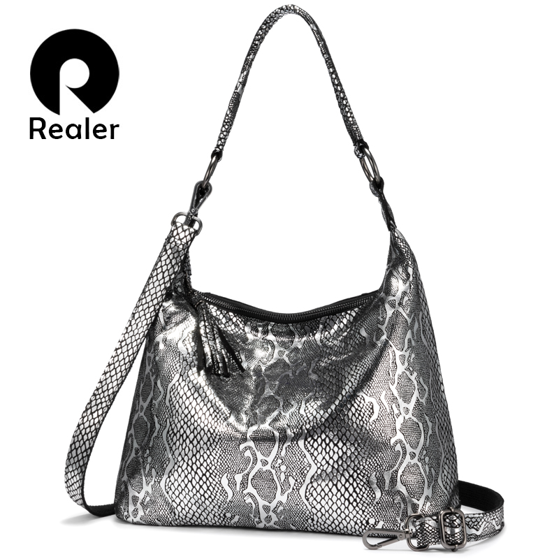 REALER Shoulder Bags For Women 2019 Genuine Leather Luxury Handbag Designer Large Hobos With Tassel Animal Prints Women Bag
