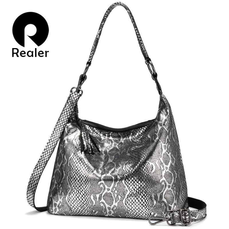 REALER Shoulder Bags For Women 2019 Genuine Leather Luxury Handbag Designer Large Hobos With Tassel Animal Prints Women Bag