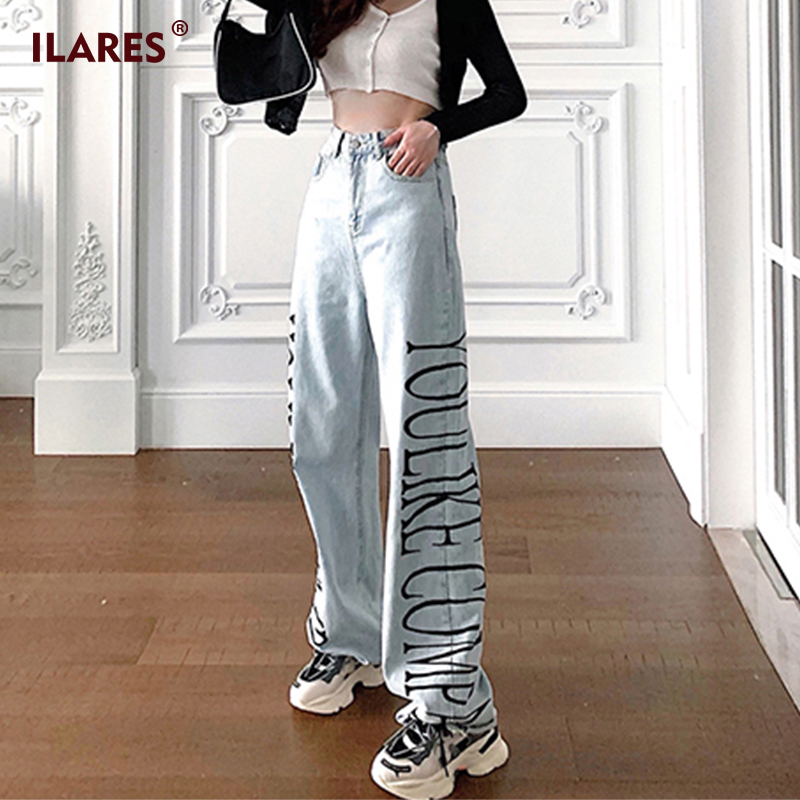ILARES Jeans Woman Pants Mom Jeans For Women Boyfriend Jeans For Women Letter Printing Denim Clothing Plus Size High Waist Jeans