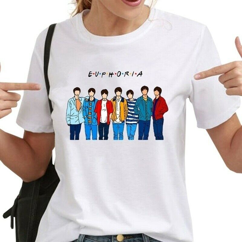 Women Kpop BTS Bangtan Boys Pattern Print T Shirt Shirts Tops kawaii The fashion leisure women shirts tshirt aesthetic t shirt T-Shirts  - AliExpress