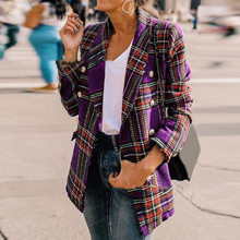 office ladies blazer Casual Tweed Blazer Coat Jacket Outerwear Double-Breasted P