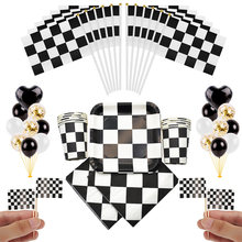 Racing car Birthday party supplies for Kids paper plates Cups Black white plaid Disposable tableware Chess Theme Party favors(China)