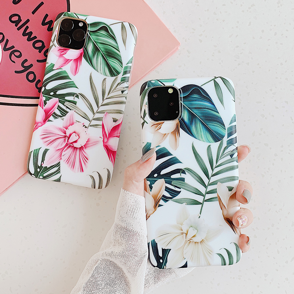 LOVECOM Art Flowers Banana Leaf Phone Case For IPhone 11 Pro Max XS Max XR 6 6S 7 8 Plus X Retro Floral Soft Phone Back Cover
