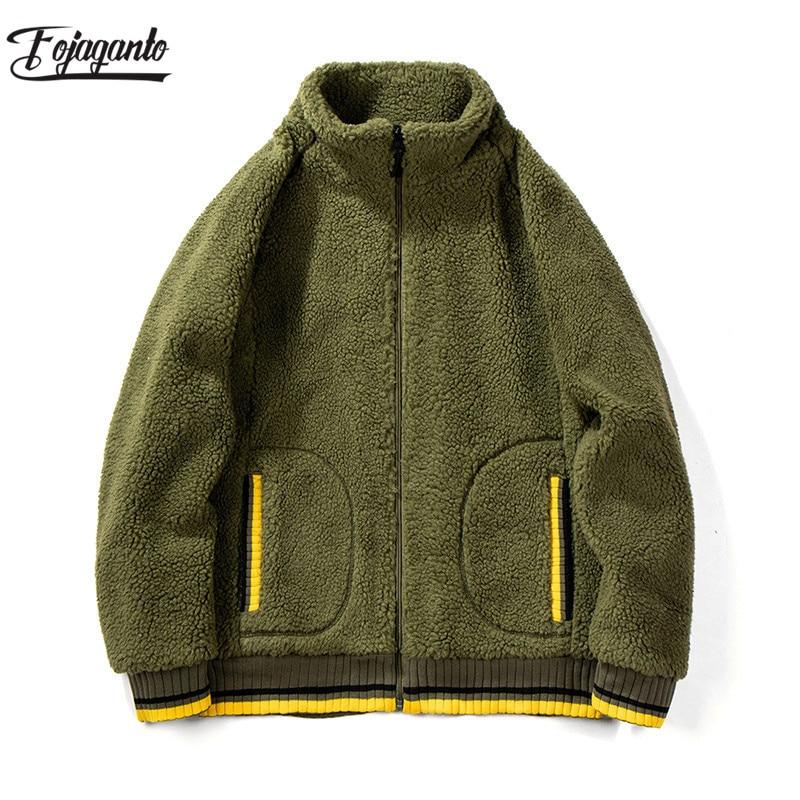 FOJAGANTO Fashion Brand Men Hoodies Autumn Winter New Round Neck Cardigan Men's Hooded Sweatshirts Male Casual Wool Hoodie