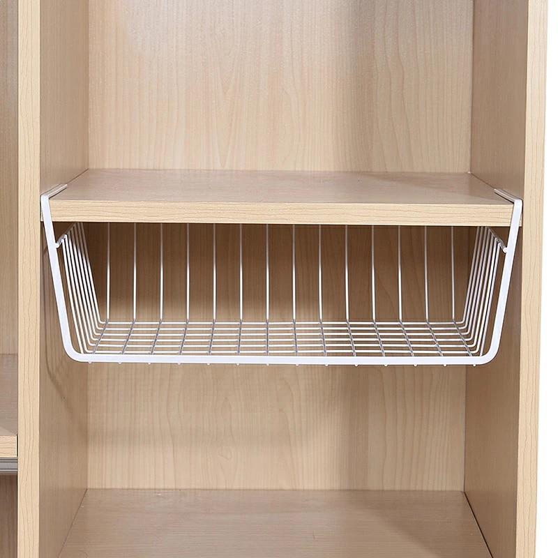 under shelf storage iron mesh basket metal cupboard cabinet door organizer rack closet holders storage basket rack organizer new