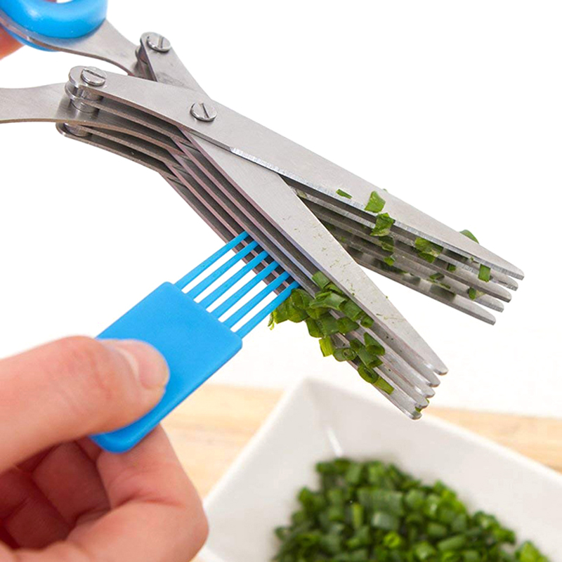 Multi-functional 5 Layer Herb Scissors Stainless Steel Scallion Scissors Kitchen Shears Knives Cutter Mincer Cooking Utensils (7)
