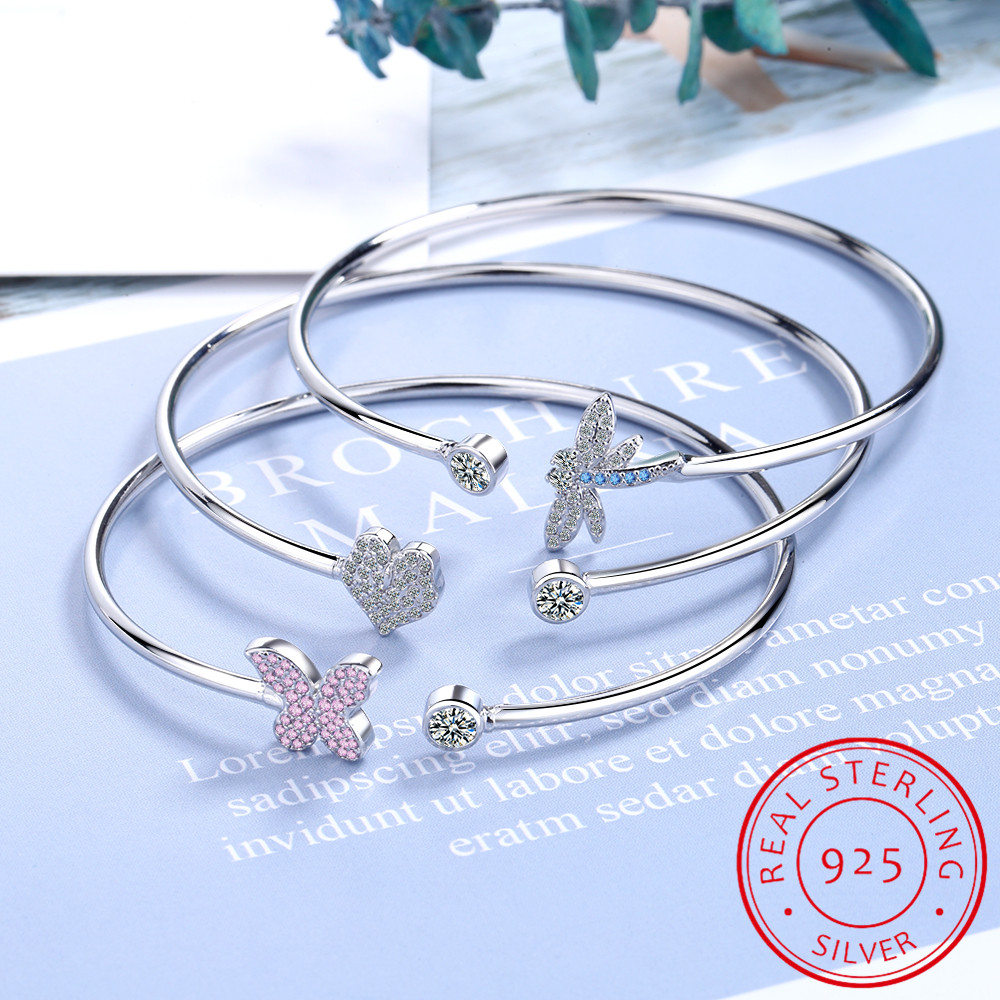 925 Sterling Silver Crystal Butterfly/Dragonfly/Heart Charm Bangles For Women Bracelet &Bangle Wedding Birthday Party Jewelry