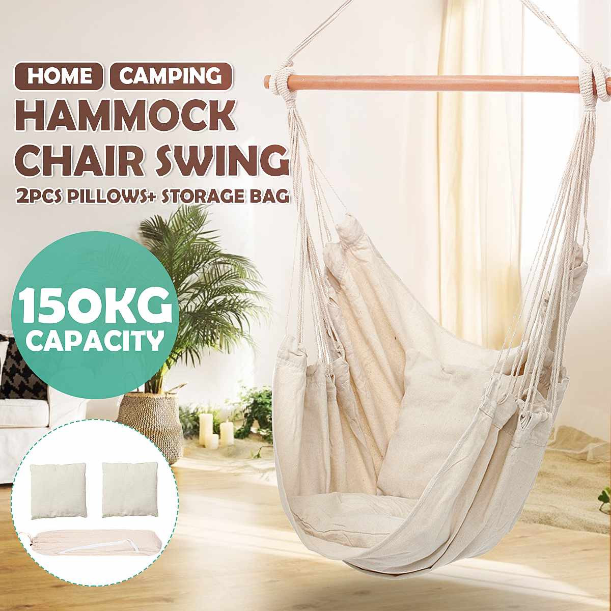 Nordic Style White Hammock Outdoor Indoor Garden Dormitory Bedroom Hanging Chair Child Adult Swinging Safety Hammock With Pillow