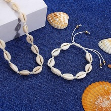 Hot Sale Summer Boho Sea Shells Pearl Necklaces Girls Rope Chain Choker Bracelet Elegant Simple Beach Jewelry Mothers Day Gift