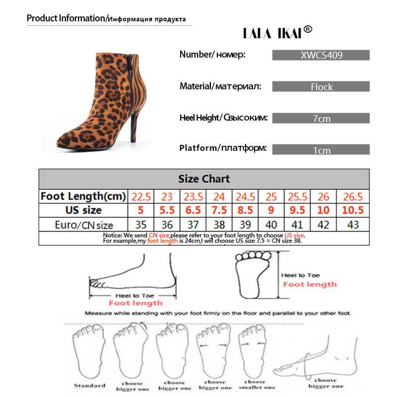LALA IKAI léopard bottines femmes troupeau zèbre mince talons hauts bottes courtes bout pointu Sexy fête bureau chaussures femme XWC5409-4