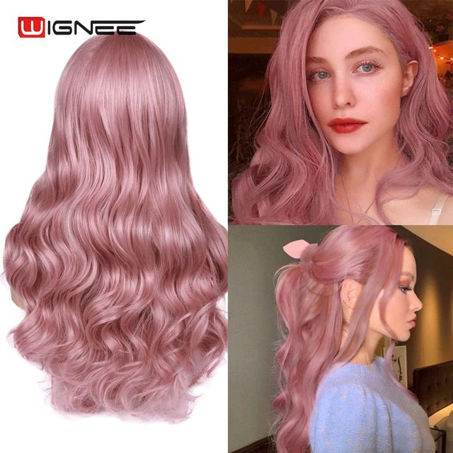 Wignee Pink Hair Long Wavy Wigs Heat Resistant Synthetic Wig For Women Daily/Party Natural Black to Brown/Purple/Ash Blonde Wig