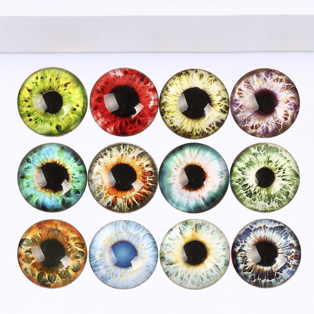 20pcs 25mm Round Flat Back Eyes Glass Dome Cabochon Settings Handmade Image Photo Glass Cabochons for Jewelry and Pendant Making Eyes