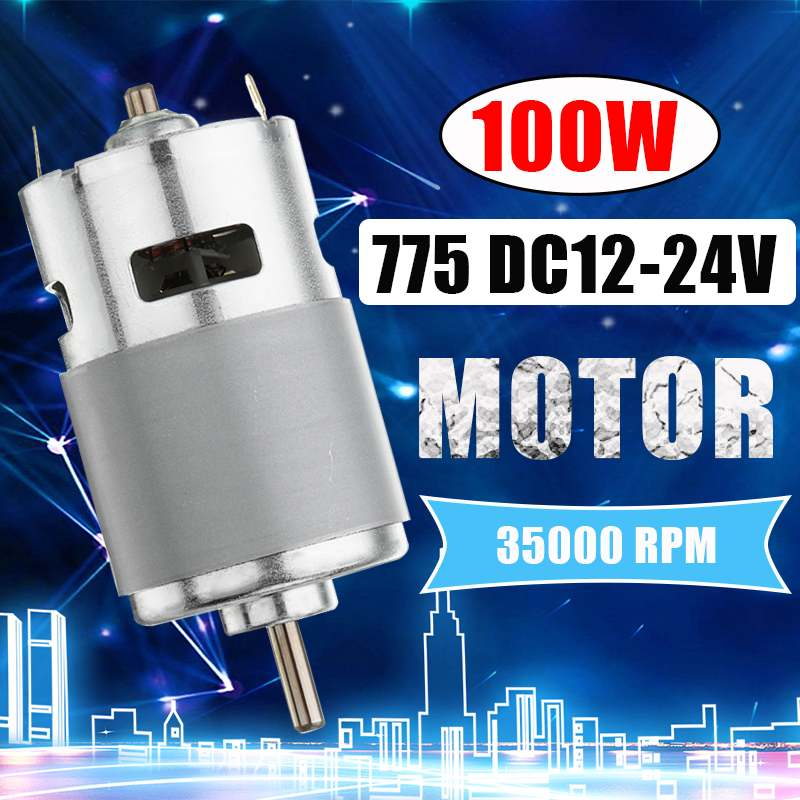 775 DC Motor DC 12V-24V Max 35000 RPM Ball Bearing Large Torque High Power Low Noise Gear Motor Electronic Component Motor