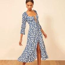 Винтажное французское Цветочное платье для женщин осень 2020