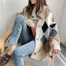 Argyle-suéter de punto a cuadros para mujer, cárdigan informal coreano con una hilera de botones, cárdigan extragrande Harajuku W156