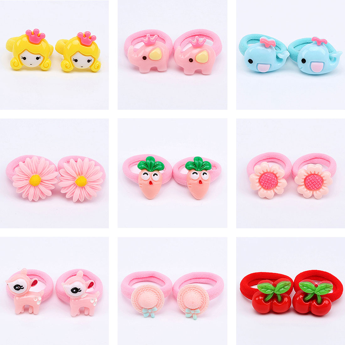 2Pcs/Set Cute Baby Girl Hair Band Cartoon Kids Children Elastic Hair Ropes Rubber Headwear Haarband Baby Hair Accessories
