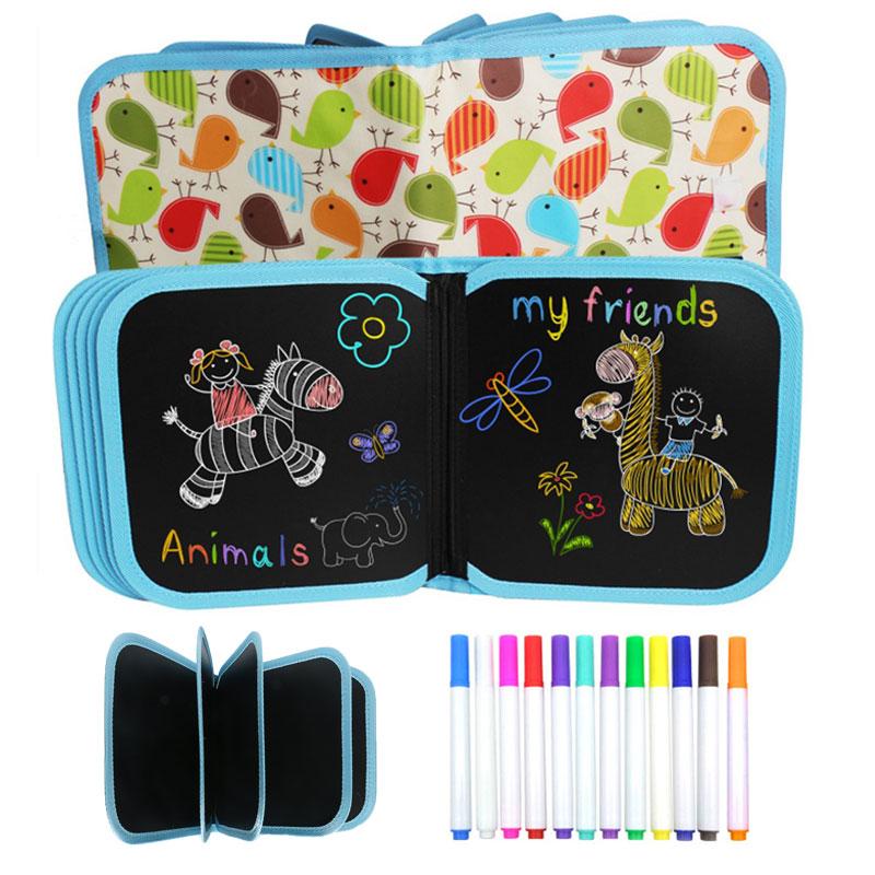 Crianças desenhando brinquedos portátil placa de giz macio desenho livro caneta mágica pintura livro para colorir diy quadro de desenho