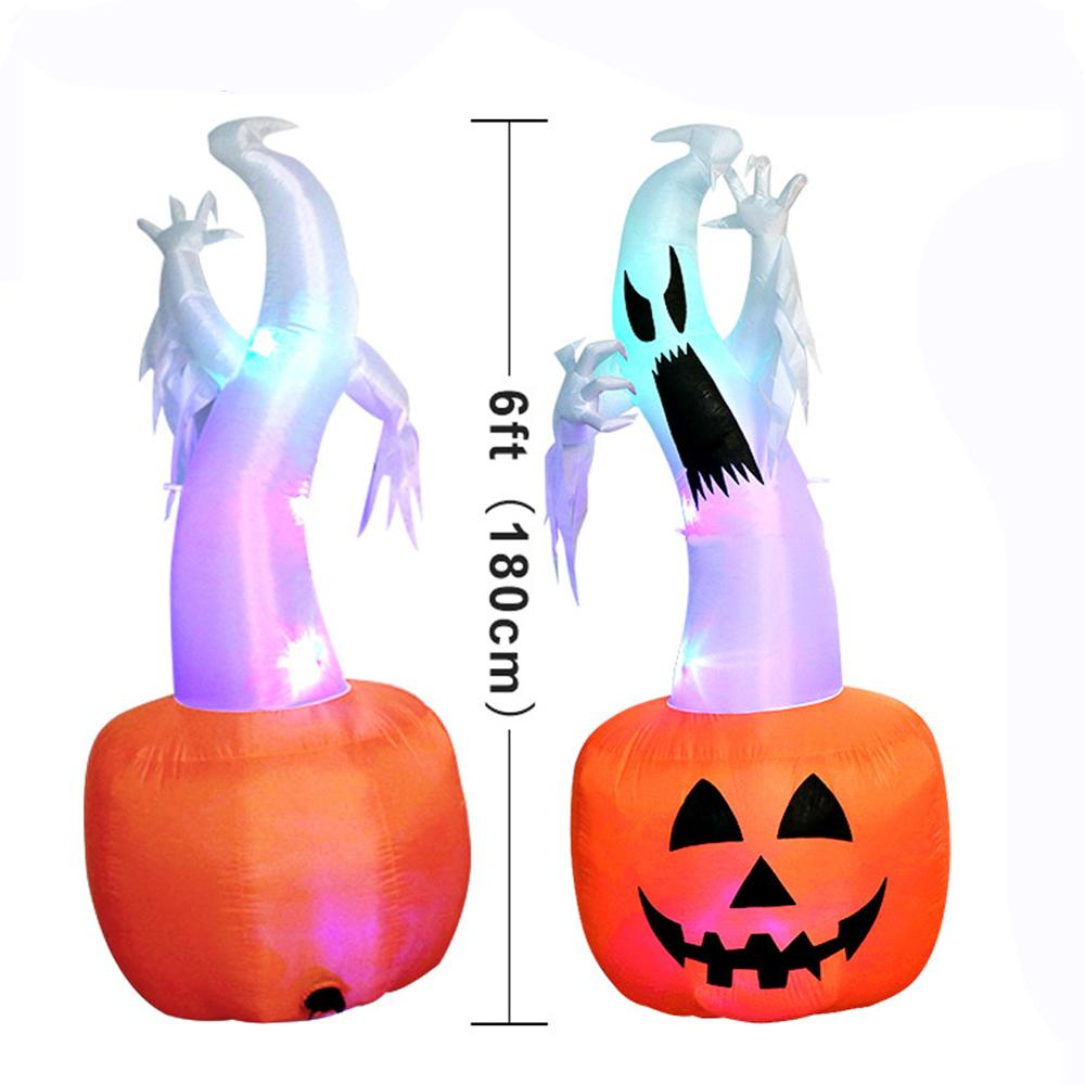 Image 3 - OurWarm Halloween Inflatable Pumpkin Outdoor Scary Decoration Halloween Party Inflatable Blow in Pumpkin Up Inflatable Witch-in Party DIY Decorations from Home & Garden