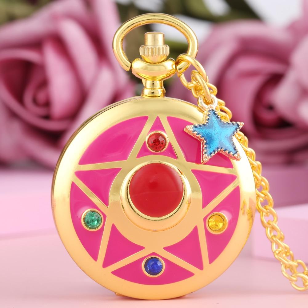 Romantic Coloured Diamond Clock Gold Slim Chain Pocket Watch Daughter Blue Star Pendant Necklace Female Acceaaory Reloj Bolsillo