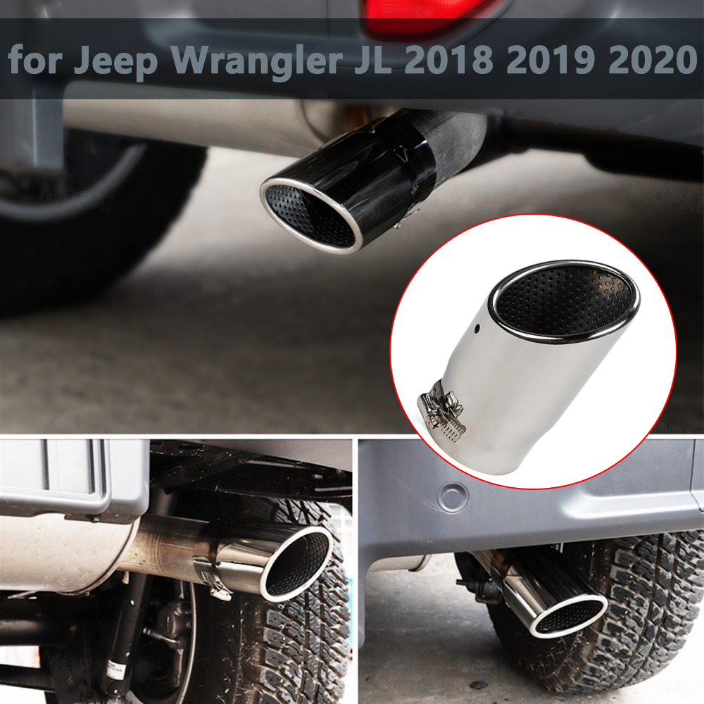 for Jeep Wrangler JL 2018 2019 2020 2021 2022 Tail Exhaust Tip Pipes Education Pipe Muffler Chrome Car Exterior Accessory
