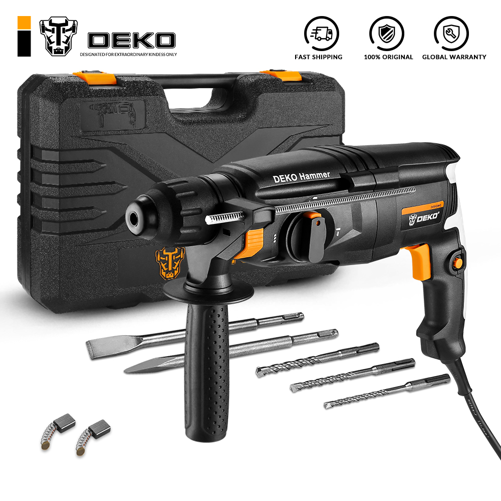 Permalink to DEKO DKRH26H2 Multifunctional Rotary Hammer with BMC&6pcs Accessories Electric Demolition Hammer Impact Drill Punch Power Tools