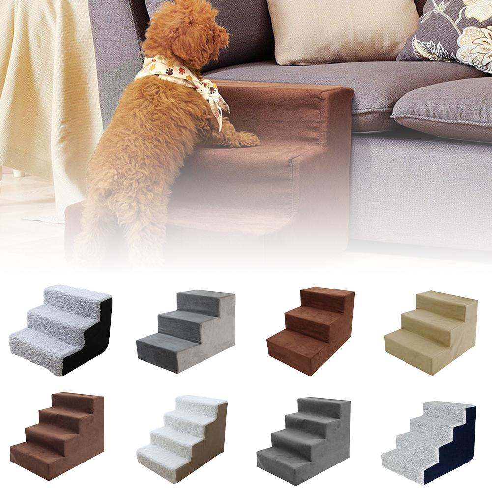 Layers Dog Stairs Ramp Ladder For Small Puppy Cats Pets Plush Cover Comfortable Puppy Cat Ladder Indoor Sofa Step Bed helpful
