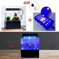 Desktop Aquarium Mini Plastic Silent Fish Tank with LED Water Filter LED Air Pump High Quality Fish Bio Aquarium Filter Pump