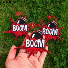 ZOTOONE BOOM Bomb Iron on Letter Patches for Clothing DIY Stranger Things Stripe Sew Patch Embroidered Comic Badge Sticker G