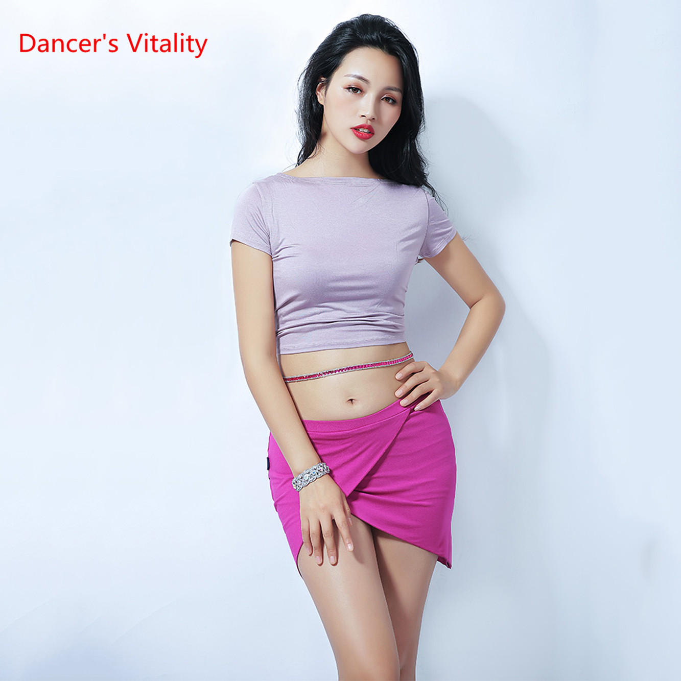 Wholesale Women Summer Sexy Belly Dance Costumes Top / Skirt Dancer Practice Solid Color Clothes S M L Free Shipping
