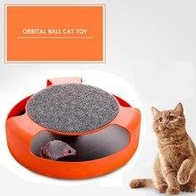 Интерактивная игрушка для кошек Catch The плюшевая мышь, пластиковый нескользящий диск, игрушка для котят, интерактивные игрушки для кошек, Лов...