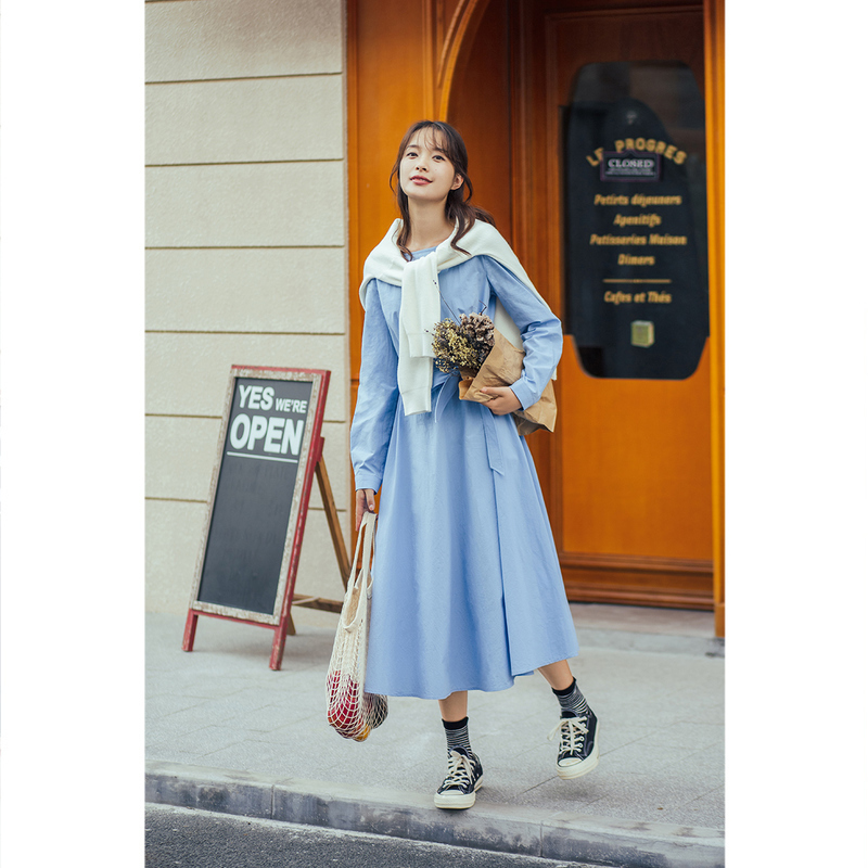 INMAN 2020 Autumn Winter New Arrival Causal Basic Style Women Butterfly Waist Knot A Line Dress