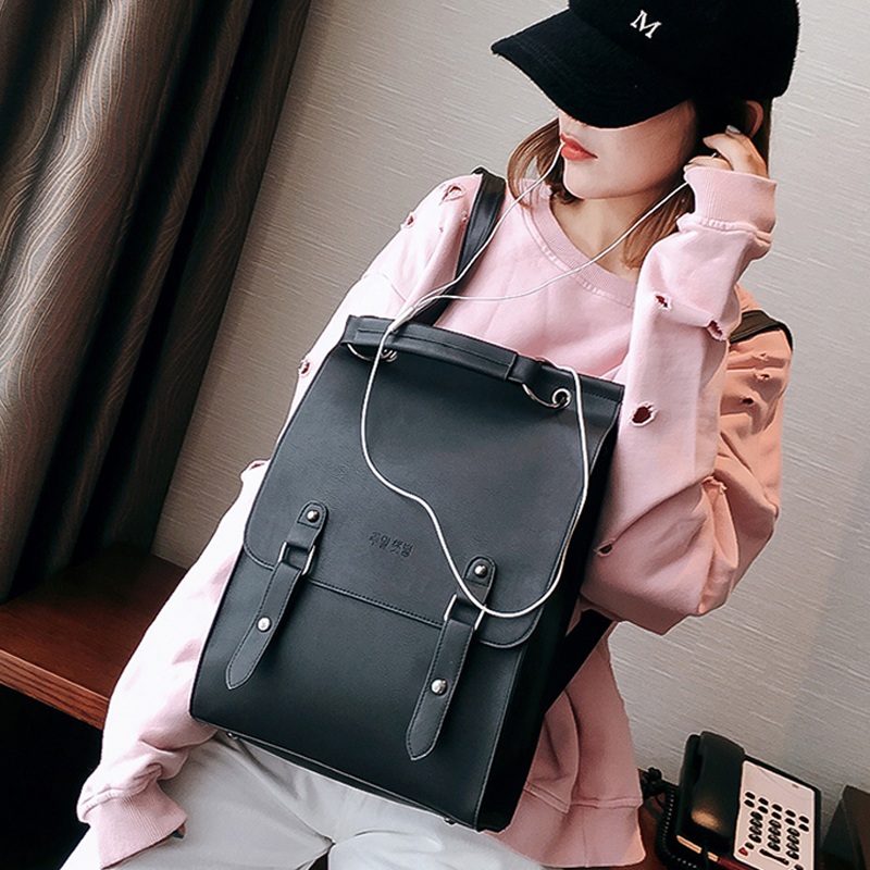 Fashion Backpack Women Large Capacity Back Pack PU Leather School Bag for Teenager Girls Casual  Vintage Backpacks Shoulder Bags