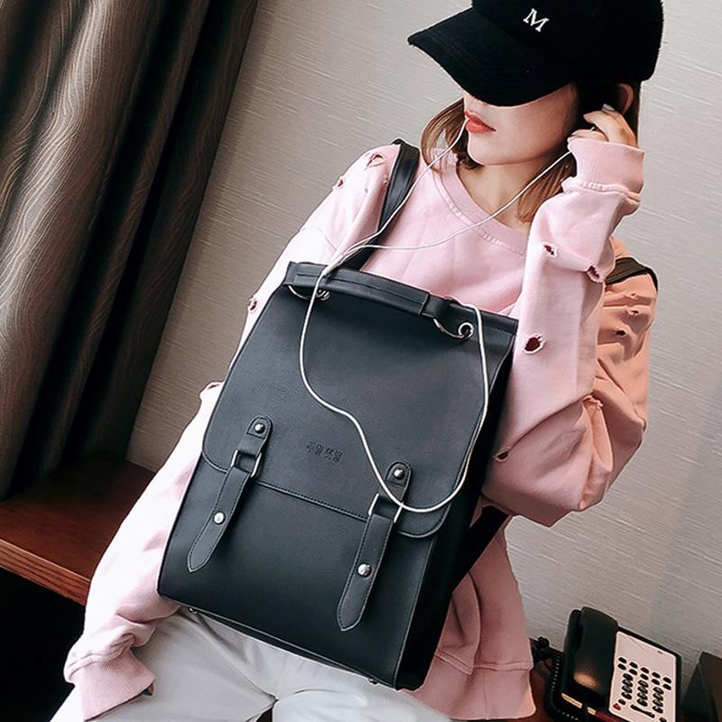 Fashion Backpack Women Large Capacity Back Pack PU Leather School Bag For Teenager Girls Casual  Vintage Backpacks Shoulder Bags