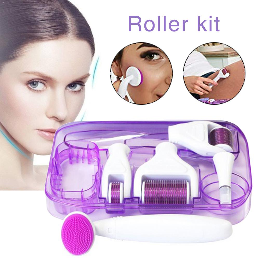 6 In 1 Roller Kit For Face And Body - 0.25mm And 0.3mm Micro Needle Dermaroller With 5 Replaceable Roller Heads, Storage Case