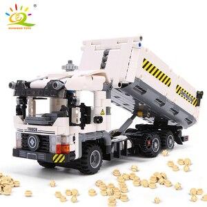 Image 2 - HUIQIBAO 799pcs טכני הנדסת Dump משאית אבני בניין רכב לבני מכונית סט חינוכי DIY צעצועים לילדים בנים