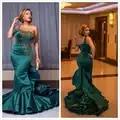 2020 Arabic Aso Ebi Hunter Green Sexy Evening Dresses Beaded Sequins Mermaid Prom Dresses One Shoulder Formal Party Second Recap