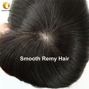 Image 5 - Injeção de renda homens toupee base seda superior em linha reta cor natural 100% liso remy indiano cabelo humano sistema substituição