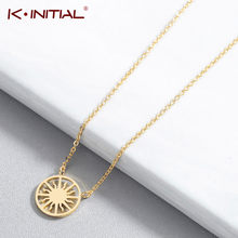 Kinitial New Sun Coin Necklaces For Women Bohemian Gold Dainty Chain Necklaces Stainless Steel Statement Jewelry(China)