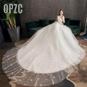 Image 3 - Moda luz vestido de casamento 2020 novo luxo longo trem real estrela francesa noiva super fada floresta sonho casamento vestido fantasia fio