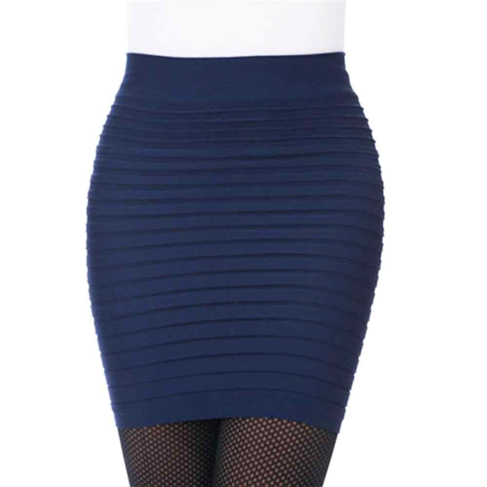 Mode femmes jupes mince couleur unie jupe femme taille haute crayon Silhouette élastique plissé Sexy jupe courte