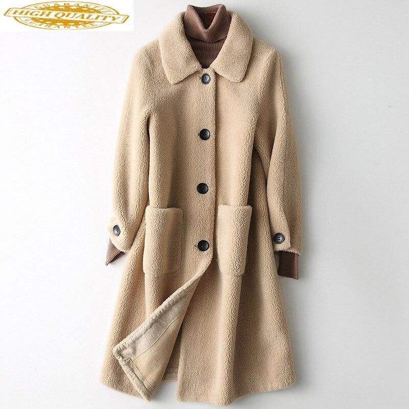 2020 New Real Fur Coat Women Winter Korean Long 100% Wool Jacket Womens Jackets Manteau Femme HQ19-SW188118C KJ2515