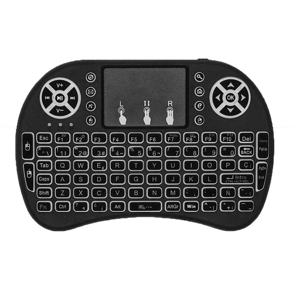 I8 Mini Tastiera 2.4GHz Tastiera Senza Fili Fly Air Telecomando Беспроводная клавиатура Ebraico Inglese Russo Spagnolo Arabo