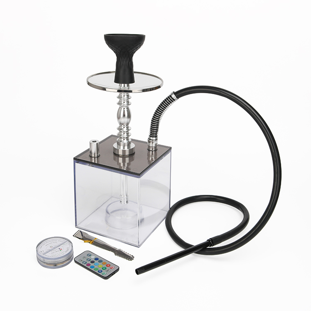 High Quality Transparent Smoking Acrylic Aluminium Alloy Square Chicha Bottle Retail Cube Shisha Hookah Sets With LED Light