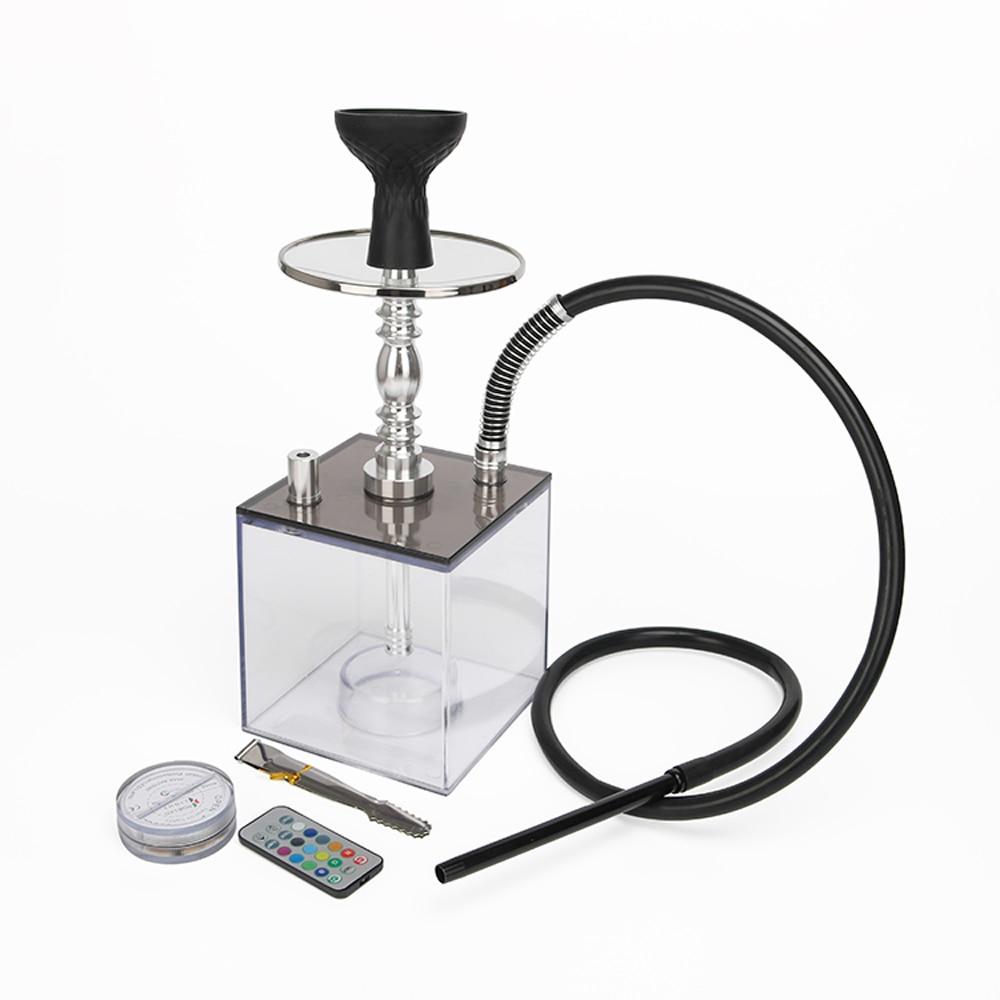 High Quality Transparent Smoking Acrylic Aluminium Alloy Square Chicha Bottle Retail Cube Shisha Hookah Sets With LED Light