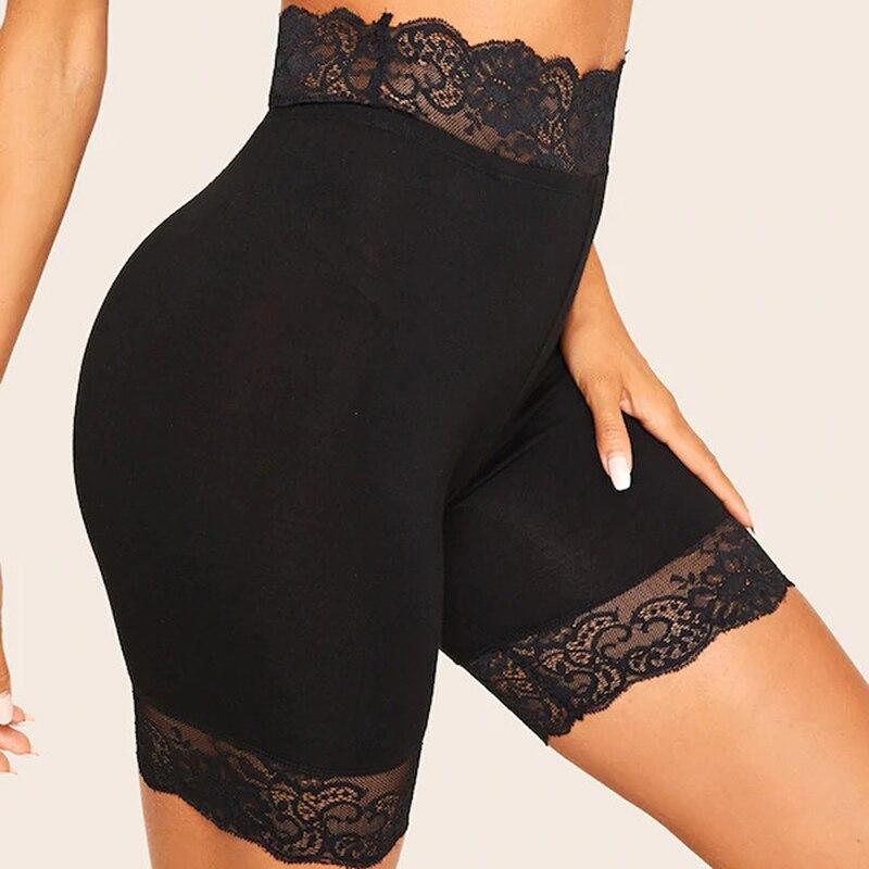GAOKE Black Lace Trim Solid Biker Shorts For Women Activewear 2020 Summer Athleisure Female High Waist Skinny Shorts