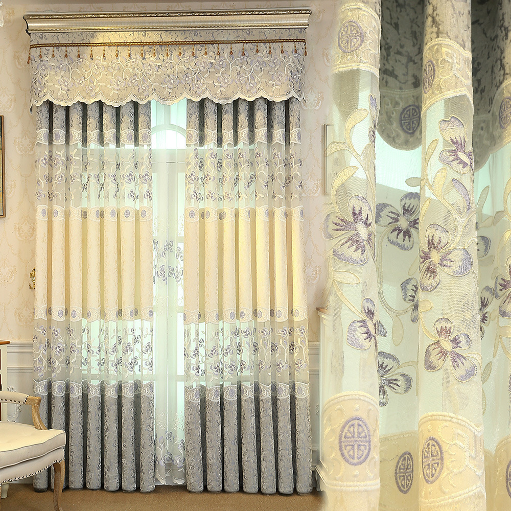 European luxury purple embroidered curtains bedroom high quality ...