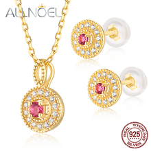 ALLNOEL 925 Sterling Silver Set 100% Natural Pink Tourmaline Emerald Real Gold Plated Wedding Engagement Jewerly Sets For Women